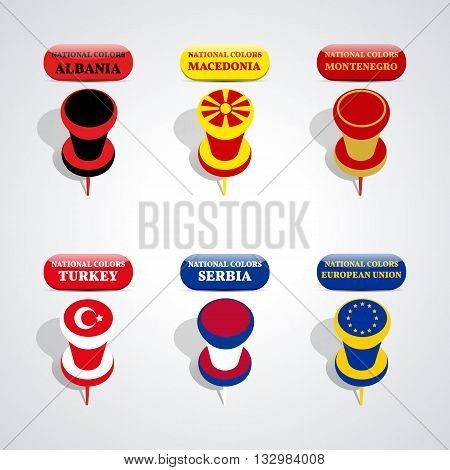 Set of pushpin in the national colors of candidate countries for membership in the European Union vector illustration.