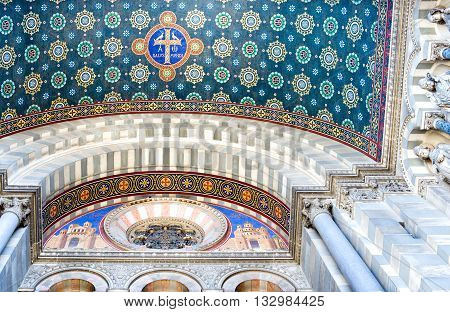 Marseille, France - April 29, 2006: upward view of paintings and decorations of the cathedral La Major inside