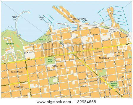 detailed san francisco fisherman`s threw road map