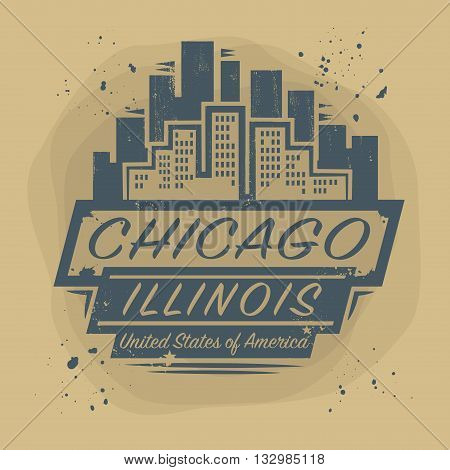 Stamp or label with name of Chicago, Illinois, vector illustration