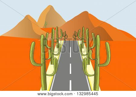 Grey road with green cactuses on the roadside in orange desert, vector illustration