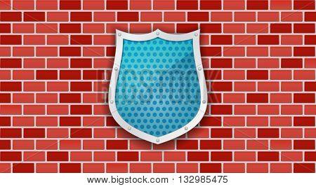 shield metallic 3d icon on brick wall