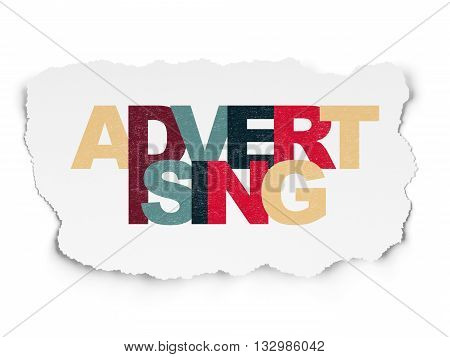 Advertising concept: Painted multicolor text Advertising on Torn Paper background