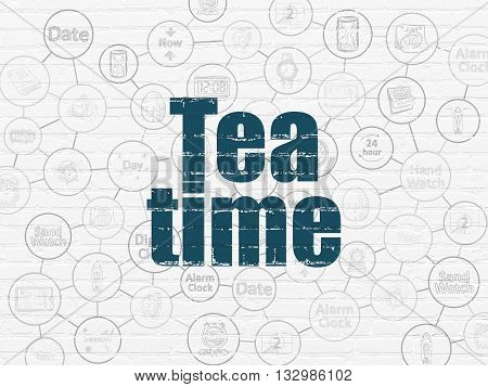 Timeline concept: Painted blue text Tea Time on White Brick wall background with Scheme Of Hand Drawing Time Icons