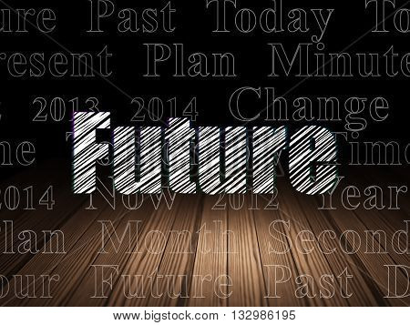 Time concept: Glowing text Future in grunge dark room with Wooden Floor, black background with  Tag Cloud