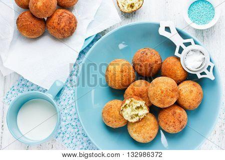 Tasty deep fried donuts ball for dessert