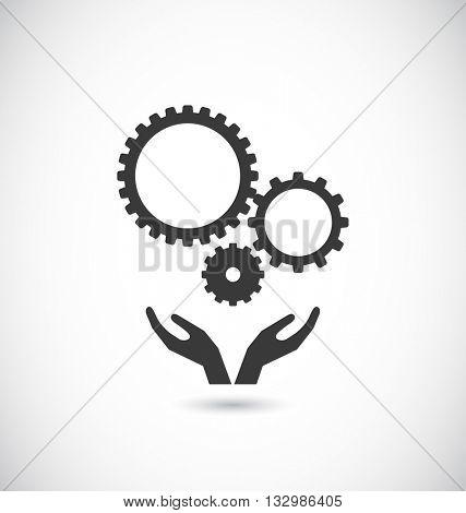 hands support gears teamwork icon