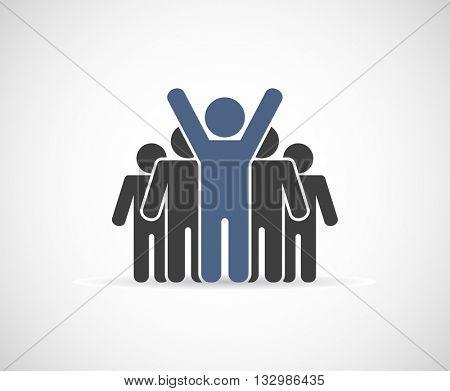 leader businessman - teamwork icon