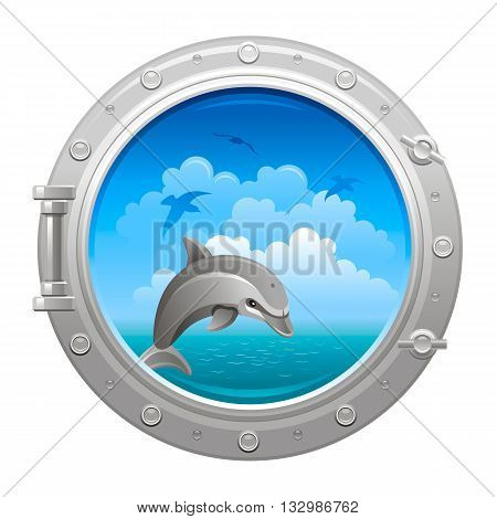 Porthole icon with seaand sky summer landscape