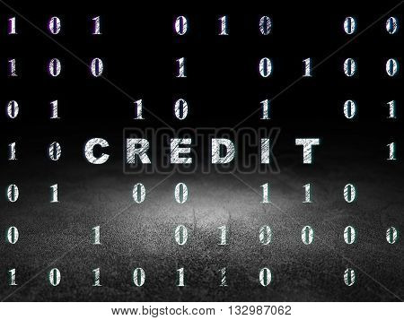 Finance concept: Glowing text Credit in grunge dark room with Dirty Floor, black background with Binary Code