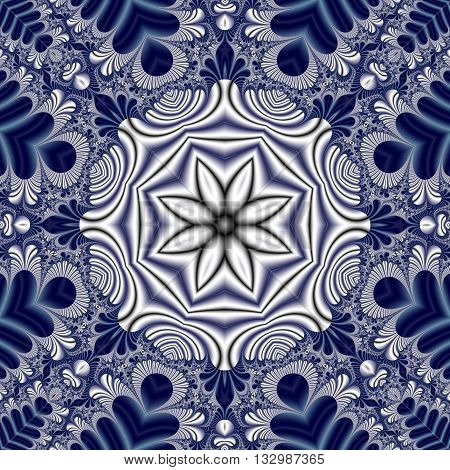 Fabulous symmetrical mandala pattern for background. Collection - Magical Satin. Artwork for creative design art and entertainment. Computer generated graphics.