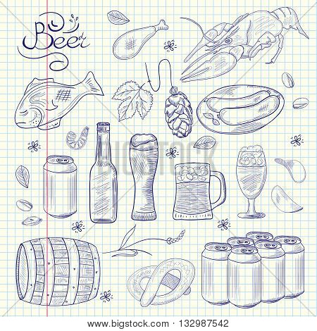 Beer hand-drawn sketchy doodle collection. Vector illustrations of beer and snacks. Icons for restaurants menus logos web and print.