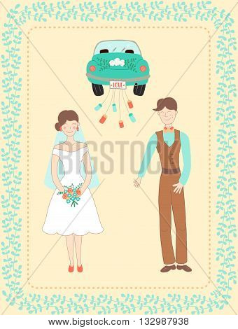 vector illustration with happy married couple and car decorated with floral border