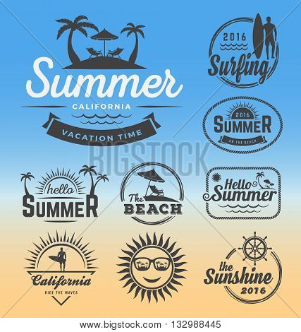 Modern retro insignia for summer holidays beach party surfing and nautical vector design | Enjoy summer | Hello Summer | Summer Travel Decoration. Vector illustration