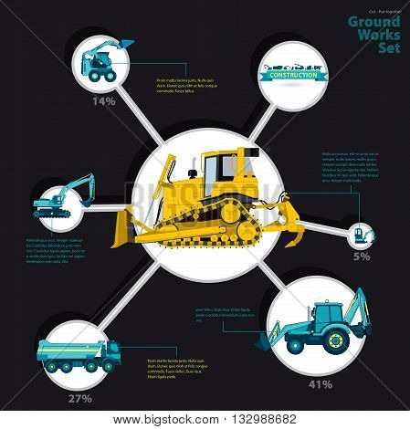 Construction machinery infographic big set of ground works machines vehicles on black background. Catalog page. Heavy equipment for building truck digger bagger excavator transportation master vector.