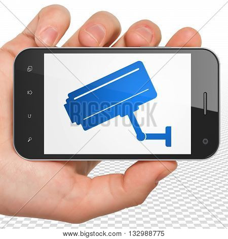 Safety concept: Hand Holding Smartphone with blue Cctv Camera icon on display, 3D rendering