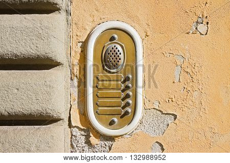 Old colored bell system in Tuscany cities