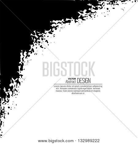 Monochrome black and white abstract background with torn edges. Uneven strokes with small particles at edges. Vector element of graphical design