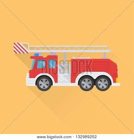Icon of the fire truck on the isolated background. A vector illustration in flat style.