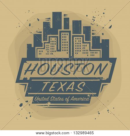 Stamp or label with name of Houston, Texas, vector illustration
