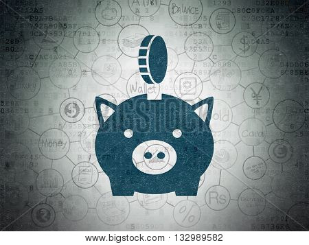 Banking concept: Painted blue Money Box With Coin icon on Digital Data Paper background with Scheme Of Hand Drawn Finance Icons