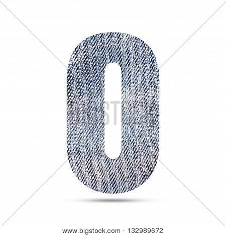 Number 0 (zero) with blue jeans texture background.