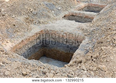 Hole Of Pillar In Construction Site Building