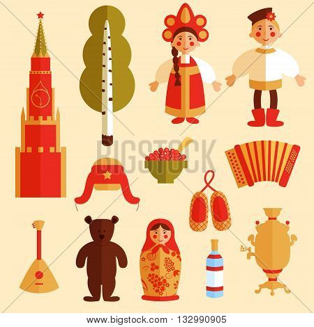 vector set of russian icons traditional russian symbols russian culture