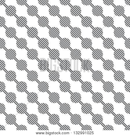 Seamless pattern. Modern stylish texture. Constantly repeating geometrical ornament consisting of diagonal lines and striped circles. Vector element of graphical design