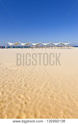 Sunshade on the Beach of Mediterranean Sea in Israel
