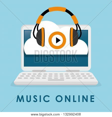 Music online concept with icon design, vector illustration 10 eps graphic.