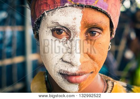 Two Halves Of Woman In Papua New Guinea