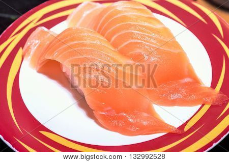 Selective Focus and Close up, Nigiri Sushi on the Japanese Plate - Japanese Food