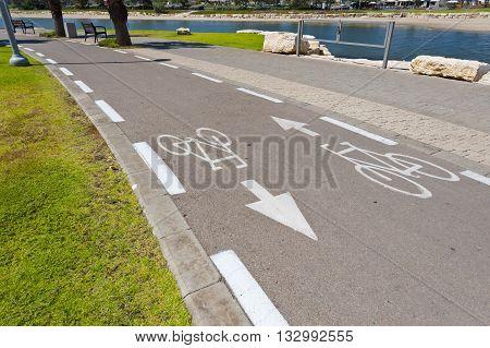 Bicycle Track along the Yarkon river in Tel Aviv