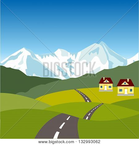 Road in village on background of the snow mountains