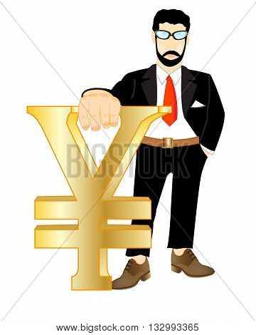 Man in suit with sign japanese money in hand on white background