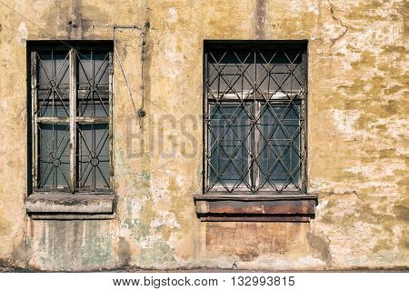 two old damaged windows, the windows texture