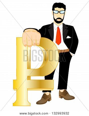 Man in suit with sign rouble in hand on white background