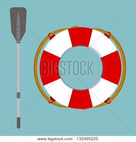 Vector illustration lifebuoy and boat rowing oar isolated on blue background. Life ring life preserver life buoy icon flat design