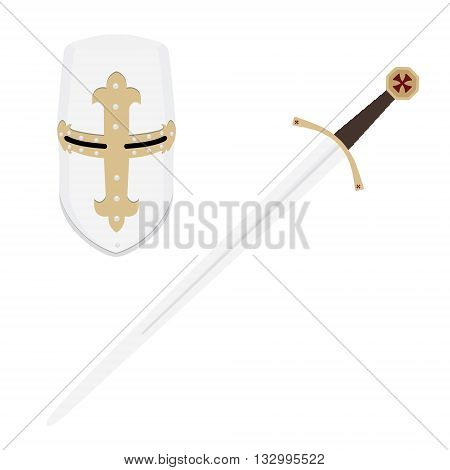 Vector illustration medieval templar knight helmet and sword. Metallic crusader armor. Medieval weapon