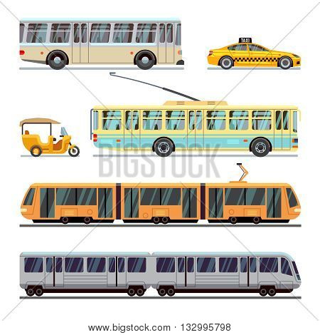Municipal city transport vector flat icons set. Transportation vehicle municipal and transport of set municipal illustration