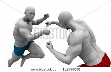 Martial Arts Training with Two Fighters in Combat 3d Illustration Render