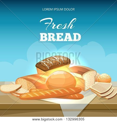 Bread concept vector background. Bakery poster template. Baguette and bakery bread illustration snack