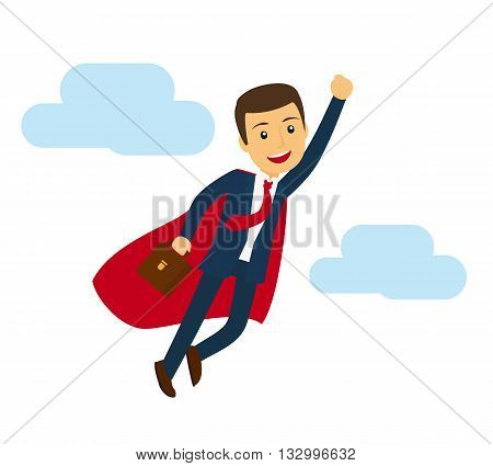 Office super business man flying icon. Businessman in superhero suit vector illustration