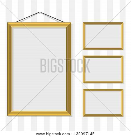Vector illustration blank gold golden picture frame template set hanging on wall