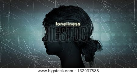 Woman Facing Loneliness as a Personal Challenge Concept 3d Illustration Render