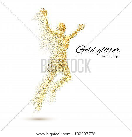 Jumping Woman in the Form of Gold Particles on White