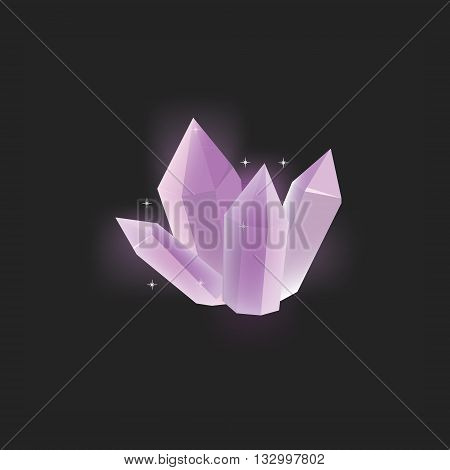 Vector illustration purple magic crystal on black background.Crystal resource for app. Shining crystal icon