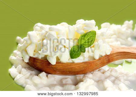 Organic farming cottage cheese in a wooden spoon