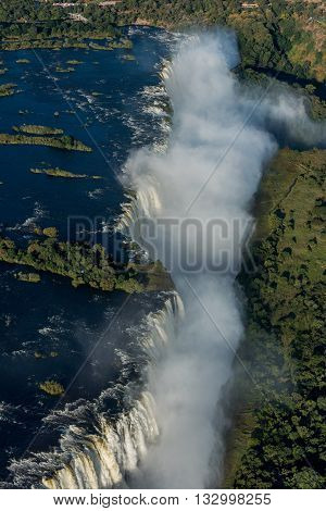 Aerial View Of Victoria Falls In Gorge